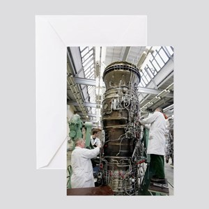 Jet aircraft engine production Greeting Card