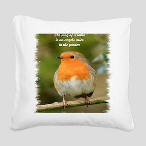 Garden Robin Square Canvas Pillow