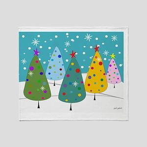 Whimsical Christmas Trees Throw Blanket