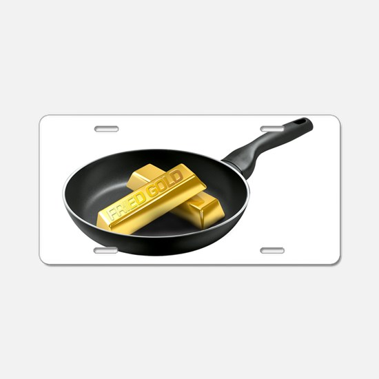 Fried Gold Spaced Aluminum License Plate