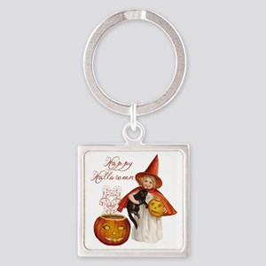 Vintage Halloween witch Square Keychain