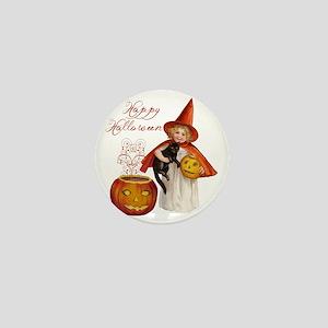 Vintage Halloween witch Mini Button