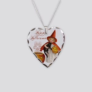 Vintage Halloween witch Necklace Heart Charm