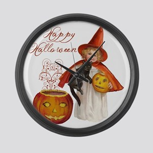 Vintage Halloween witch Large Wall Clock
