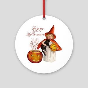 Vintage Halloween witch Round Ornament