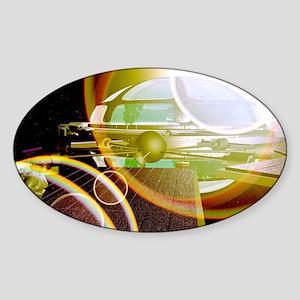 Interstellar spaceship Sticker (Oval)