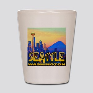 Seatt;e Washington Mt. Rainier  Golden  Shot Glass