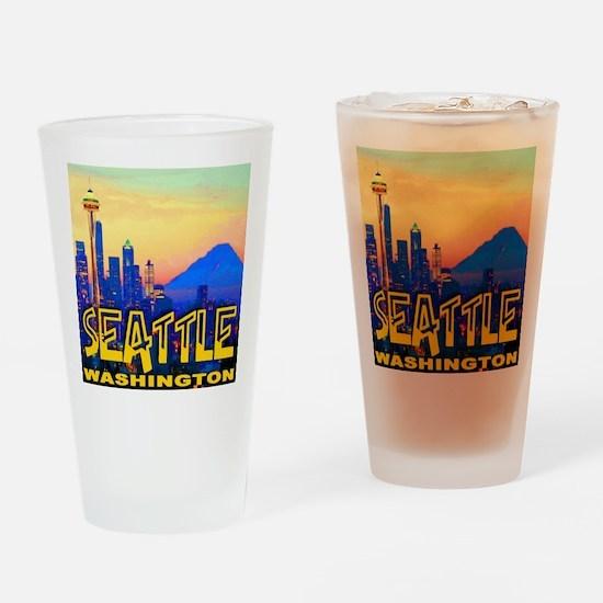 Seatt;e Washington Mt. Rainier  Gol Drinking Glass