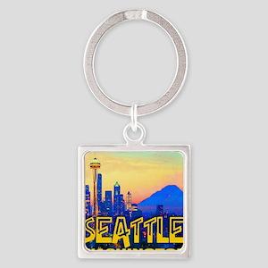 Seatt;e Washington Mt. Rainier  Go Square Keychain