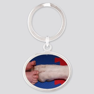 Pitter Patter Paws Oval Keychain