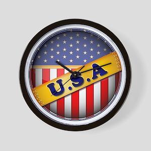 round flag USA Wall Clock