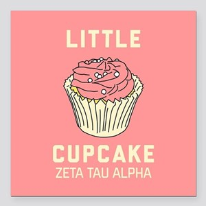 "Zeta Tau Alpha Little Cu Square Car Magnet 3"" x 3"""
