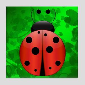 Single Ladybug Tile Coaster