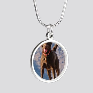Lovable Chocolate Lab Silver Round Necklace