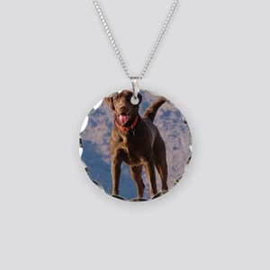 Lovable Chocolate Lab Necklace Circle Charm