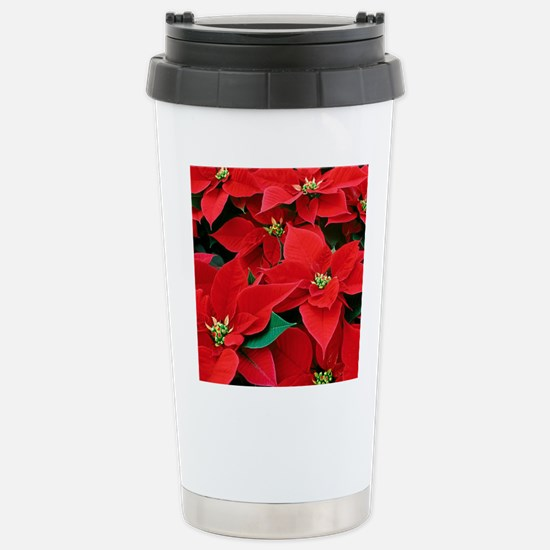 Christmas Poinsettias Stainless Steel Travel Mug