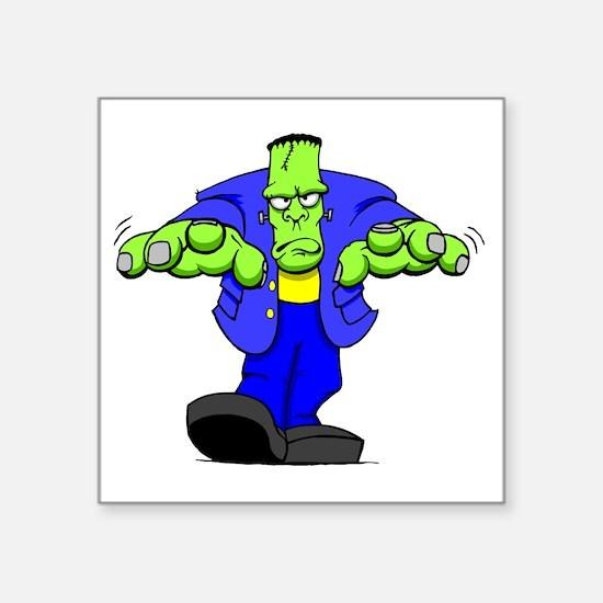 """Cartoon Frankenstein Square Sticker 3"""" x 3"""""""