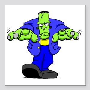 "Cartoon Frankenstein Square Car Magnet 3"" x 3"""