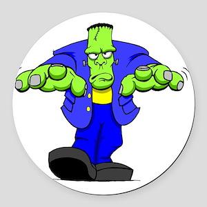 Cartoon Frankenstein Round Car Magnet