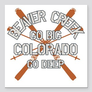 "Go Big Beaver Creek Square Car Magnet 3"" x 3"""