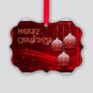 Merry Christmas (red) Picture Ornament