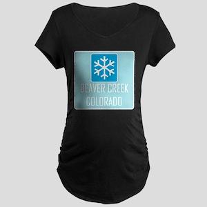 Beaver Creek Snowflake Maternity Dark T-Shirt