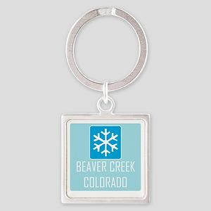 Beaver Creek Snowflake Square Keychain