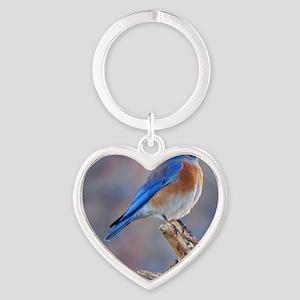 Bluebird of Happiness Heart Keychain