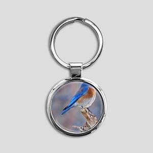 Bluebird of Happiness Round Keychain
