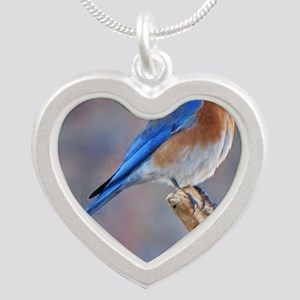 Bluebird of Happiness Silver Heart Necklace