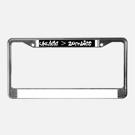 Ukulele is greater than zombie License Plate Frame