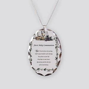 First Holy Communion Necklace Oval Charm