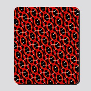 Funky Red And Black Pattern Mousepad
