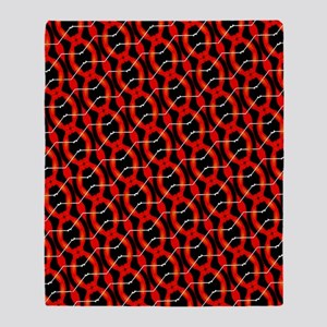 Funky Red And Black Pattern Throw Blanket