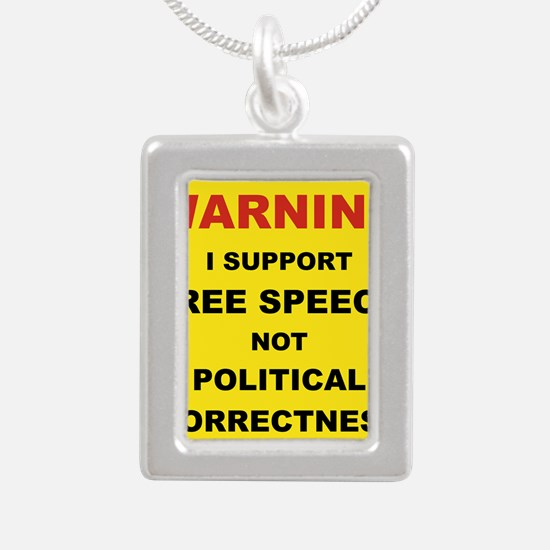 WARNING I SUPPORT FREE S Silver Portrait Necklace