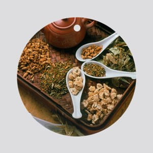 Assortment of herbal teas on a tray Round Ornament
