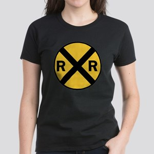 Rail Road Crossing Sign Women's Dark T-Shirt