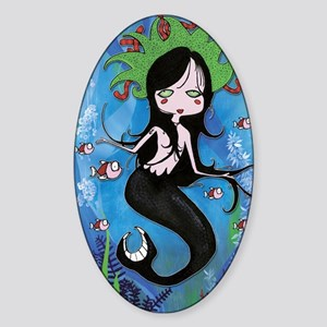 Mermaid Art Inspiration Sticker (Oval)