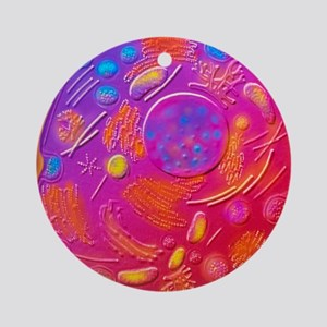 Computer graphic of animal cell Round Ornament