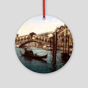 Vintage Rialto Bridge Round Ornament