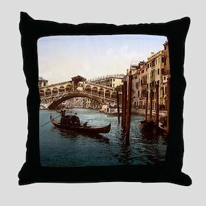 Vintage Rialto Bridge Throw Pillow
