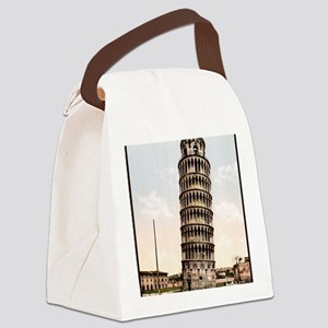 Vintage Leaning Tower Of Pisa Canvas Lunch Bag
