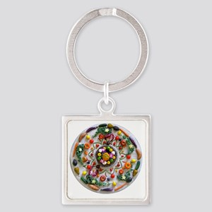 Veg and Fruit Mandala Square Keychain