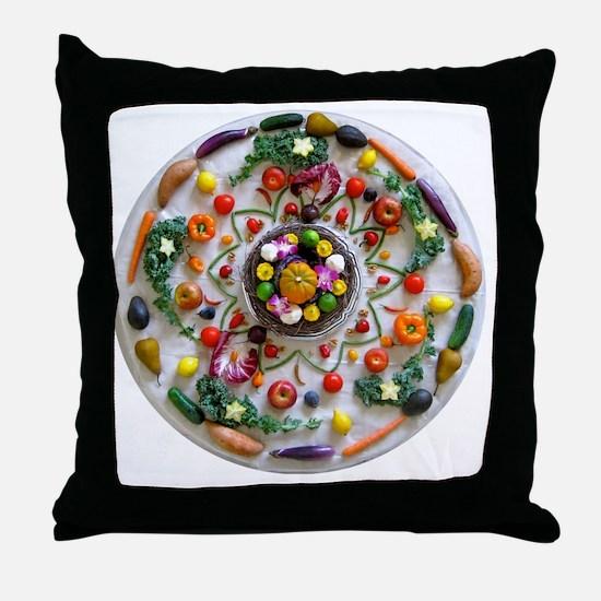 Veg and Fruit Mandala Throw Pillow