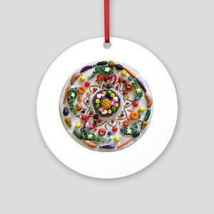 Veg and Fruit Mandala Round Ornament