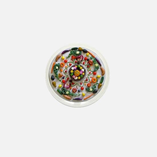 Veg and Fruit Mandala Mini Button