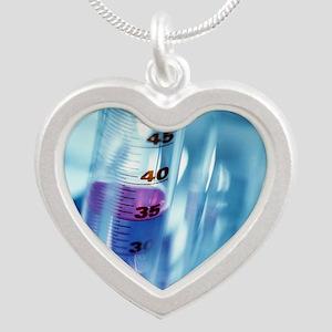 Laboratory glassware Silver Heart Necklace