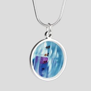 Laboratory glassware Silver Round Necklace
