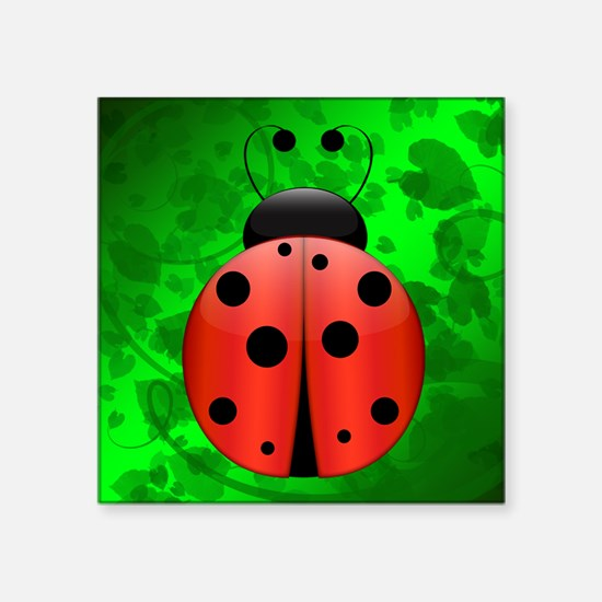 "Large Single Ladybug Square Sticker 3"" x 3"""