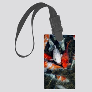 Koi carp in a pond Large Luggage Tag